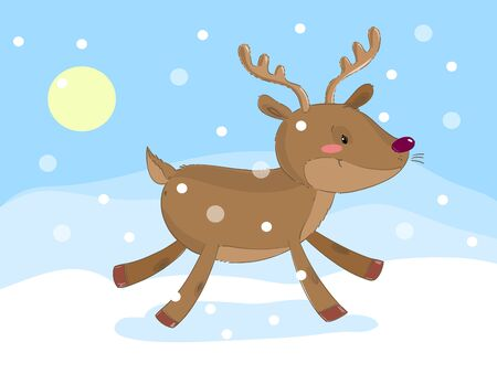 Cute reindeer running on the snow background