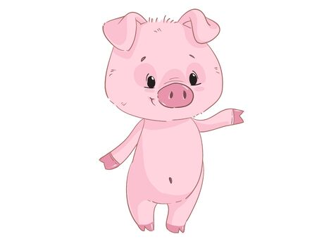 Cute pig cartoon clipart isolated on white background Illustration