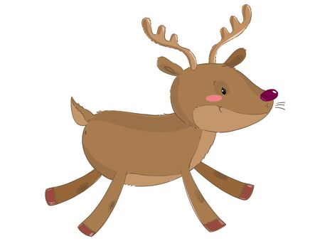 Cute reindeer running isolated on white background