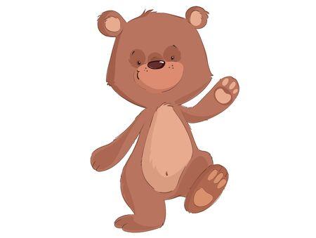 Cute baby bear walking on the white background cartoon