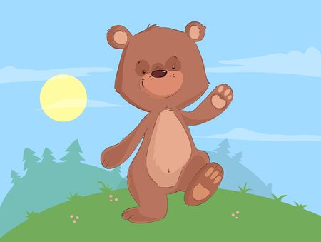 Cute baby bear walking in the forest cartoon Illustration