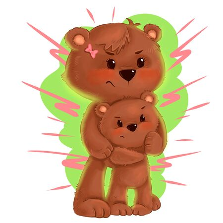 Bear mother Supemom carrying her baby cub