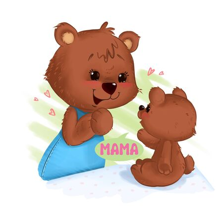 Bear mother smiling listern first word her baby cub Stock Photo