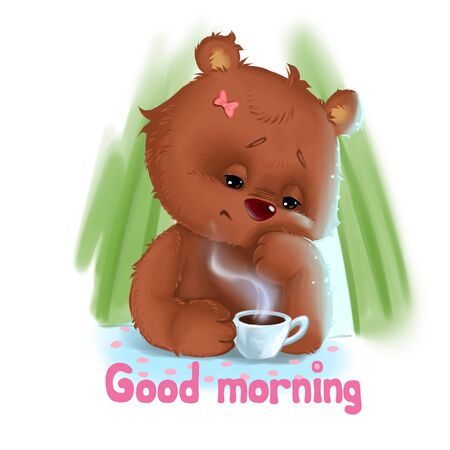 Bear mother tired sitting with morning coffe Stock Photo