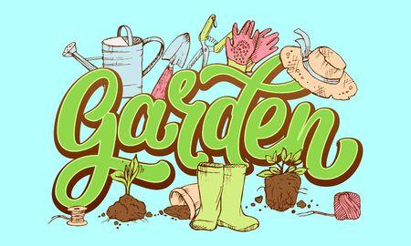 Mot de jardin de lettrage entouré par les attributs du jardinier