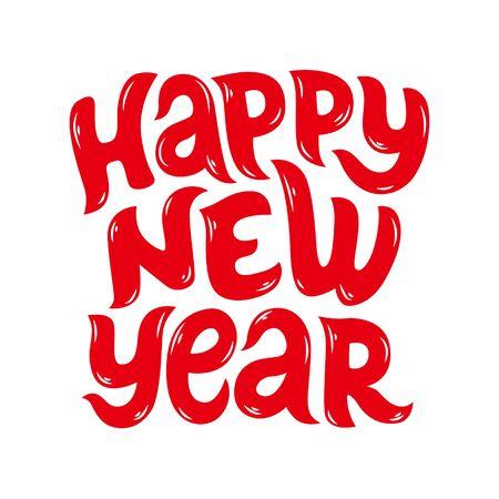 Lettering handwritten inscription Happy New Year. Vector Illustration