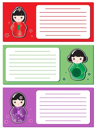 Cute Kokeshi stickers on notes or invitations. Space for your text. EPS10 vector format. Vector