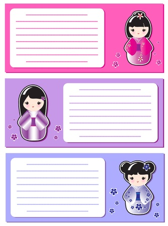 Cute Kokeshi stickers on notes or invitations. Space for your text. EPS10 vector format. Stock Vector - 10262887