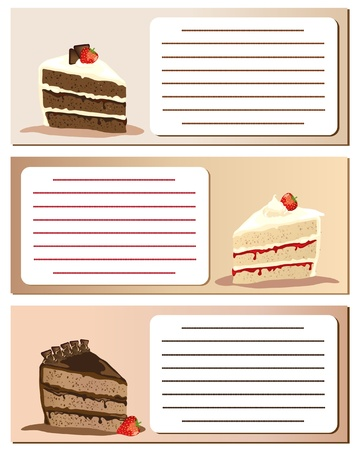 Slices of gateaux on notes. Suitable for invitations or announcements. Empty text box with space for your own text. EPS10 vector format.