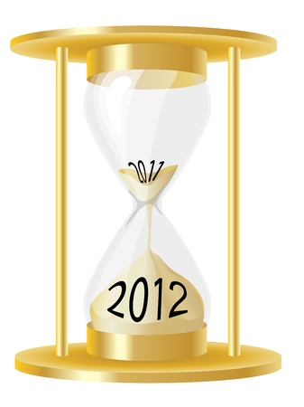 A vector illustration of a hour glass depicting sand running out from 2011 and into 2012. EPS10 vector format Vector