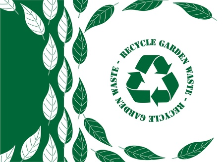 recycle symbol vector: Recycle garden waste concerpt. Simple green and white leaf design with recycle symbol EPS10 vector format.