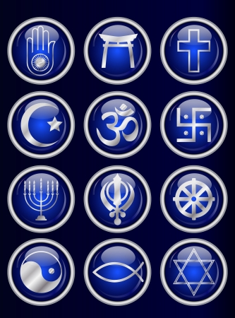 ahimsa: A set of Religious symbol web buttons. Silver isolated on blue. EPS10 vector format. Illustration