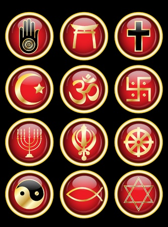 A set of Religious symbol web buttons. Gold isolated on black. EPS10 vector format. Stock Vector - 10262893