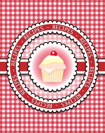 Gingham recipe book cover with cupcake. Scrapbook style Vector