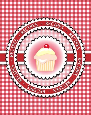 Pastel recept book cover met cupcake. Kladblok stijl