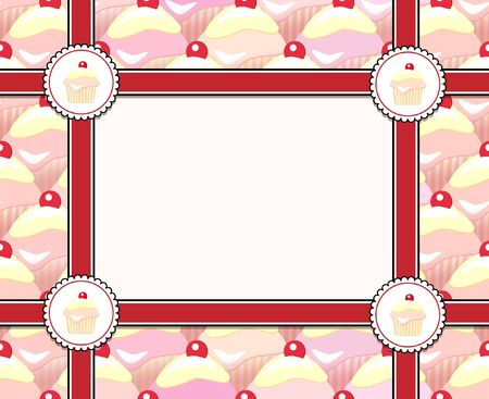 vanilla cupcake: Repeating rows of cupcakes ribbons and label with space