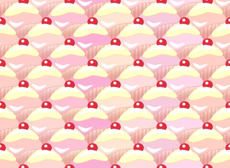 Repeating rows of cupcakes. Seamless pattern  Vector
