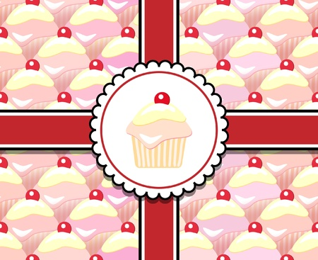 Repeating rows of cupcakes, ribbons and label. Seamless pattern Vector