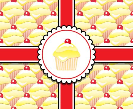Repeating rows of cupcakes, ribbons and label.  Vector