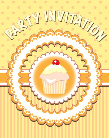 homemade style: Retro style party invitation with cupcake Illustration