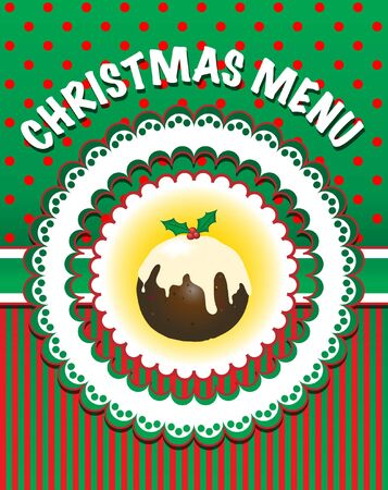 Retro style Christmas Menu template with pudding. EPS10 vecter format Illustration