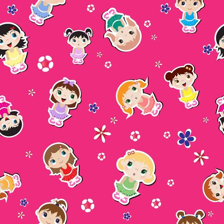 Baby ballerina seamless background with flowers. EPS10 vector format. Vector