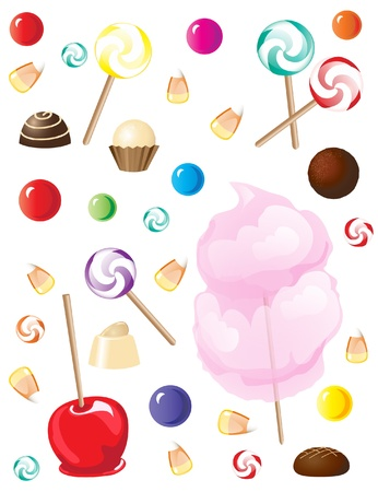 A selection of sweets and candies isolated on white background. EPS10 vector format Stock Vector - 10308875