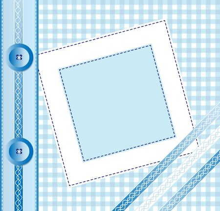 album photo: Gingham photo album cover or frame with ribbons and buttons. Scrapbook style EPS10 vector format Illustration