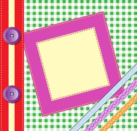 Gingham photo album cover or frame with ribbons and buttons. Scrapbook style EPS10 vector format Illustration