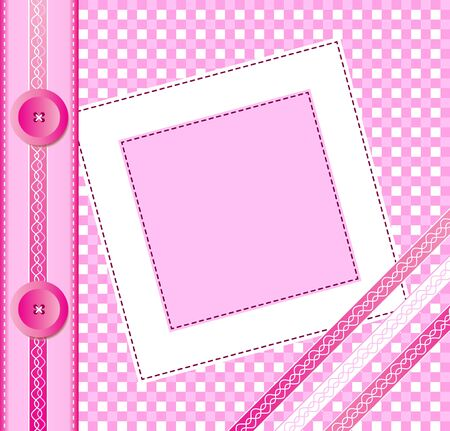 gingham: Gingham photo album cover or frame with ribbons and buttons. Scrapbook style EPS10 vector format Illustration