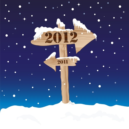 A wooden sign showing the way to 2012 from 2011. New Year's eve concept. EPS10 vector format. Stock Vector - 10308791