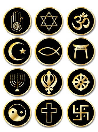 om symbol: A set of stickers - Religious symbols. Gold isolated on black. EPS10 vector format. Illustration