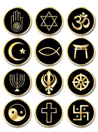 simbolos religiosos: Un conjunto de etiquetas - s�mbolos religiosos. Oro aislado en negro. Formato vectorial EPS10.