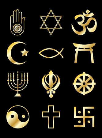 ahimsa: A set of Religious symbols. Gold isolated on black. EPS10 vector format.