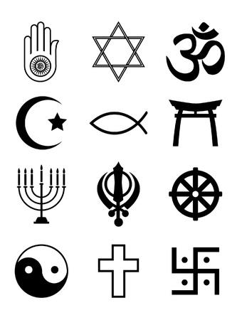 Un insieme di simboli religiosi. Sagome nere isolato su bianco. EPS10 formato vettoriale.