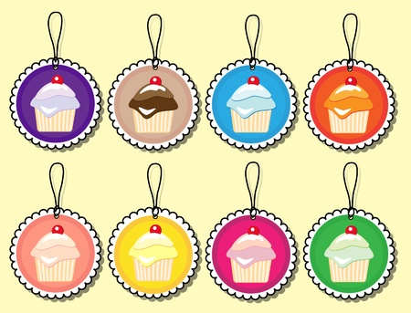 Cupcake gift tags in various colours. EPS10 vector format. Illustration