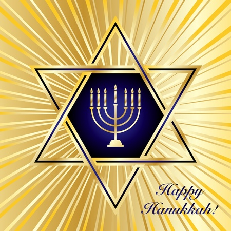 A Happy Hanukkah card template in blue and gold. EPS10 vector format Stock Vector - 10308786