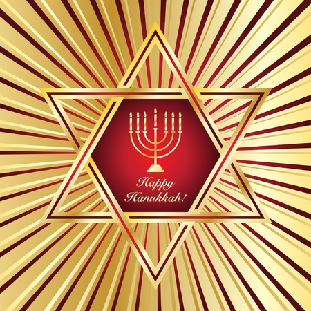 A Happy Hanukkah card template in red and gold. EPS10 vector format Vector