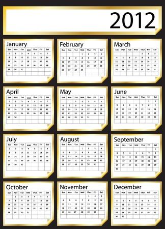utworzonych: 2012 kalendarz stworzony z naklejek złota. Miejsca na tekst lub nazwę firmy. Eps10 vector format. Ilustracja