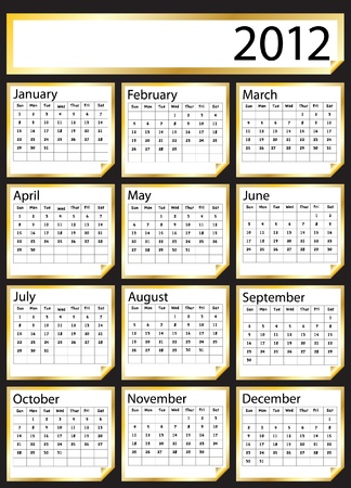 A 2012 calendar created with gold stickers. Space for text or Company name. EPS10 vector format. Stock Vector - 10308869