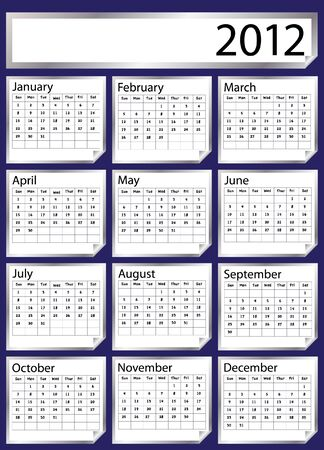 scheduler: A 2012 calendar created with silver stickers. Space for text or Company name. EPS10 vector format. Illustration