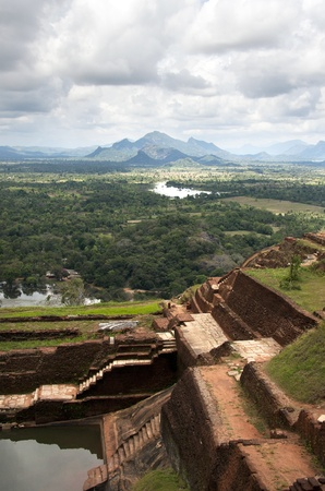 sri: Part of the ruins of the palace and fortress of Sigiriya, Cultural Triangle, Sri Lanka