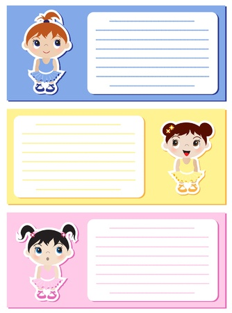 Baby Ballerina stickers on notes or invitations. Space for your text. EPS10 vector format. Illustration