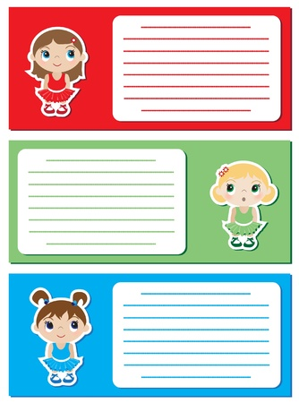 Baby Ballerina stickers on notes or invitations. Space for your text. EPS10 vector format. Vector