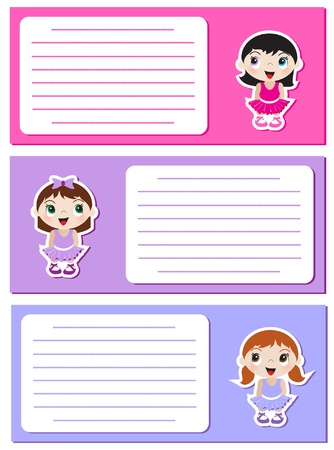 Baby Ballerina stickers on notes or invitations. Space for your text. EPS10 vector format. Stock Vector - 10314136