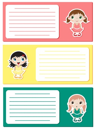 Baby Ballerina stickers on notes or invitations. Space for your text. EPS10 vector format. Stock Vector - 10314137