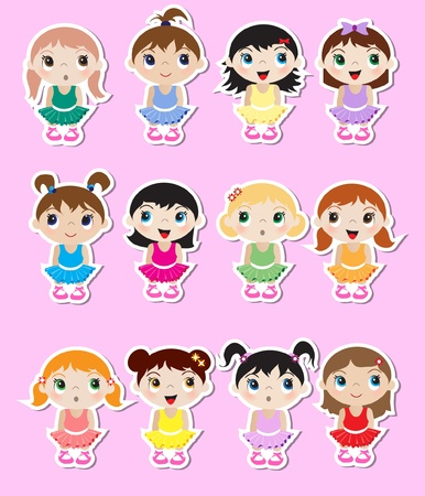 A set of cute little baby ballerina stickers. EPS10 vector format. Illustration