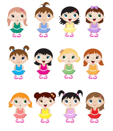 A set of cute little baby ballerina mascots. EPS10 vector format. Vector