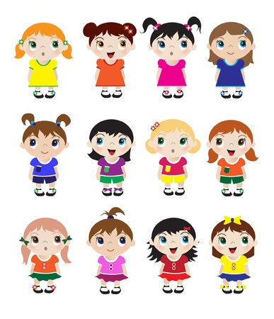 girls with bows: A set of cute little girl mascots. EPS10 vector format