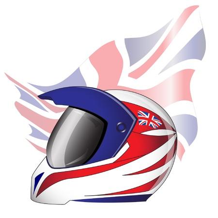 motorradhelm: Motorrad-Helm mit rot, wei� und blau Union Jack Thema britische Flagge. EPS10 Vektor-Format.